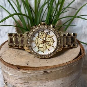 Judith Ripka Watch mother of pearl gold Swiss euc